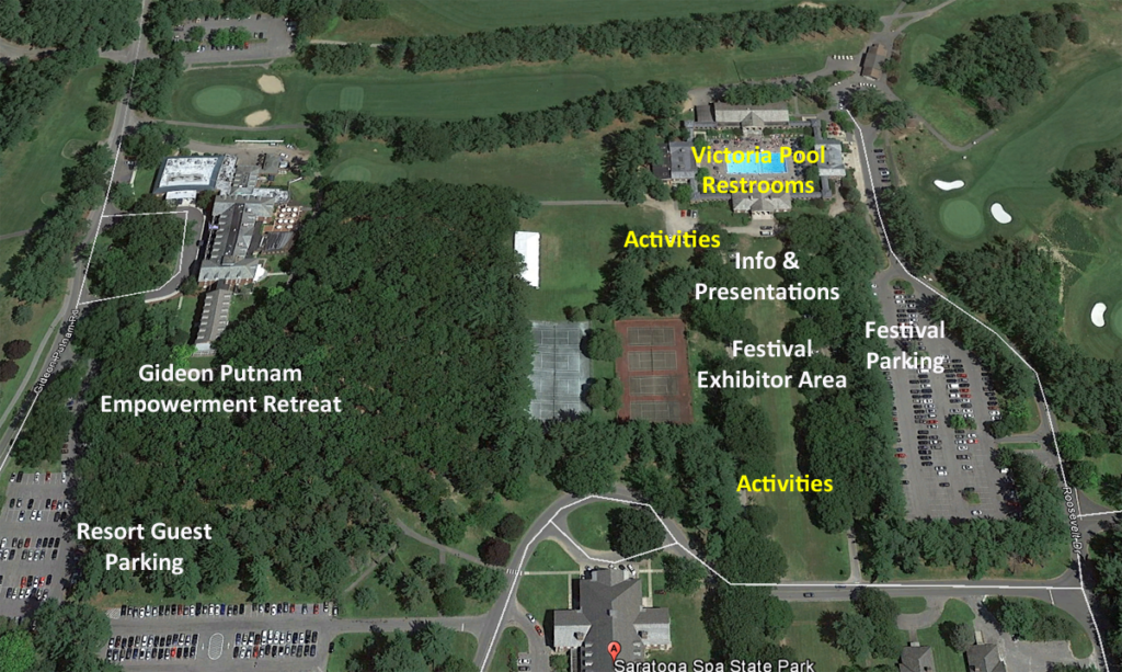 Aerial view of Festival for Change location in Saratoga Spa State Park, Saratoga Springs, NY