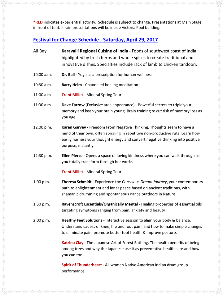 Festival for Change Schedule